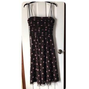 Jessica Howard Dress Polka Dots Midi Sz 12 Brown